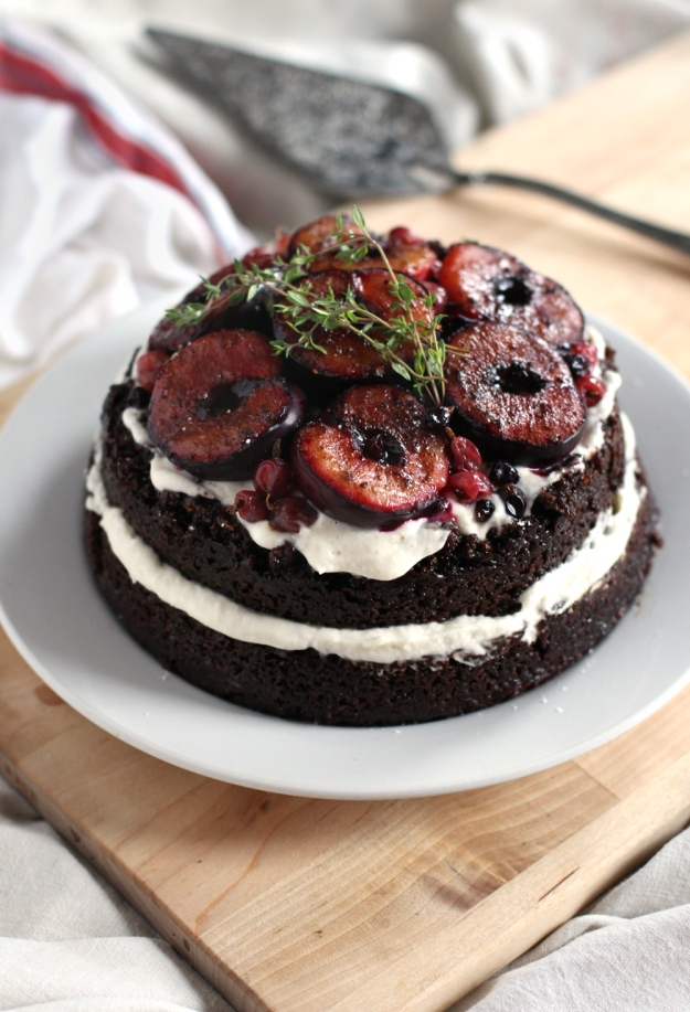 Gluten-Free Almond Chocolate Layer Cake with Roasted Plums | With The ...