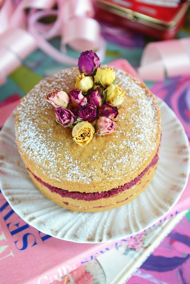 Vanilla Almond Cake with Roasted Beet Frosting by WithTheGrains.com